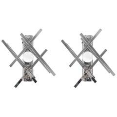 Pair of Geometric Sconces by Gaetano Sciolari