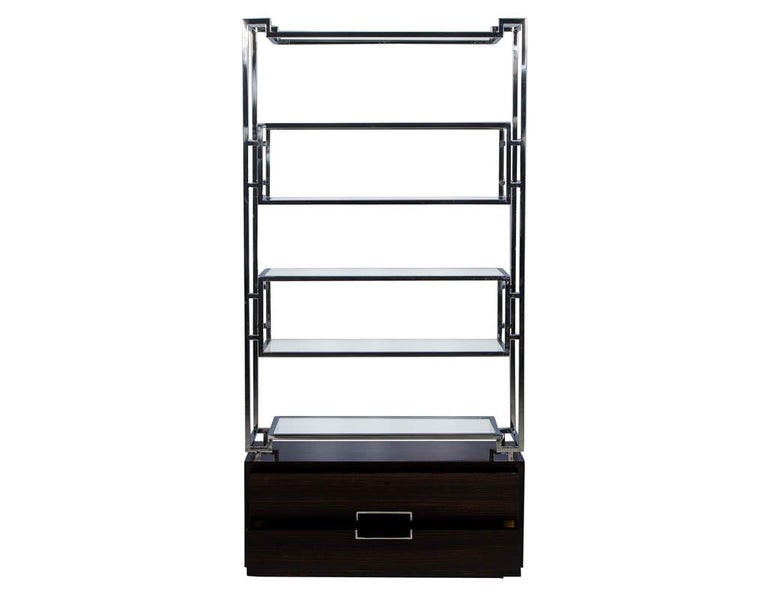 Modern Pair of Geometric Stainless Steel Bookcases with Macassar Base