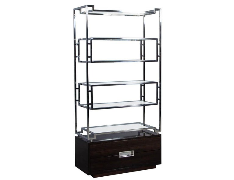 American Pair of Geometric Stainless Steel Bookcases with Macassar Base