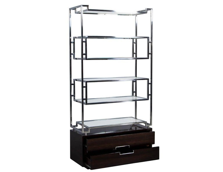 Pair of Geometric Stainless Steel Bookcases with Macassar Base In Excellent Condition In North York, ON