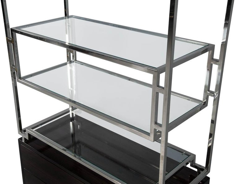 Pair of Geometric Stainless Steel Bookcases with Macassar Base 3