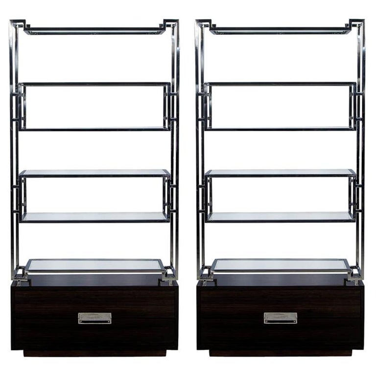 Pair of Geometric Stainless Steel Bookcases with Macassar Base
