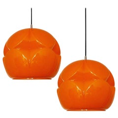 Pair of Geometrical Cast Opaque Orange Glass Fixtures, Peill Putzler