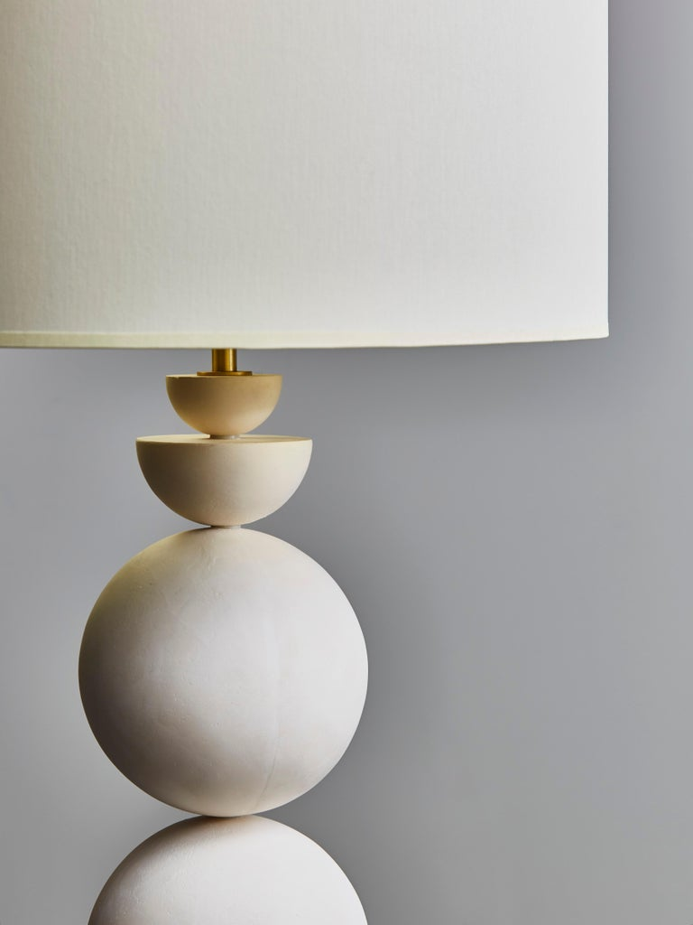 Modern Pair of Geometrical Plaster Table Lamps For Sale