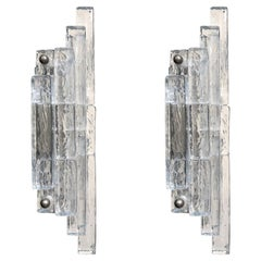 Pair of Geometrical Transparent Glass Wall Sconces Lights by Poliarte, 1960s
