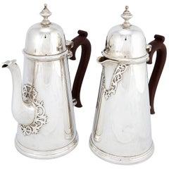 Pair of George I Style Cafe-au-Lait Pots by Edward Barnard & Sons Ltd., London