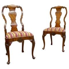 Pair of George I Style Carved Walnut Cabriole Leg Side Chairs