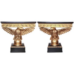 Pair of George II Carved Eagle Consoles