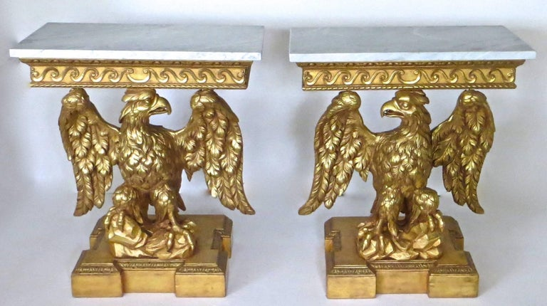 Pair of George II Carved Giltwood Pier Tables in the Manner of William Kent For Sale 10