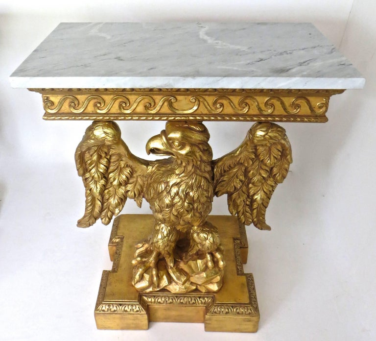 English Pair of George II Carved Giltwood Pier Tables in the Manner of William Kent For Sale