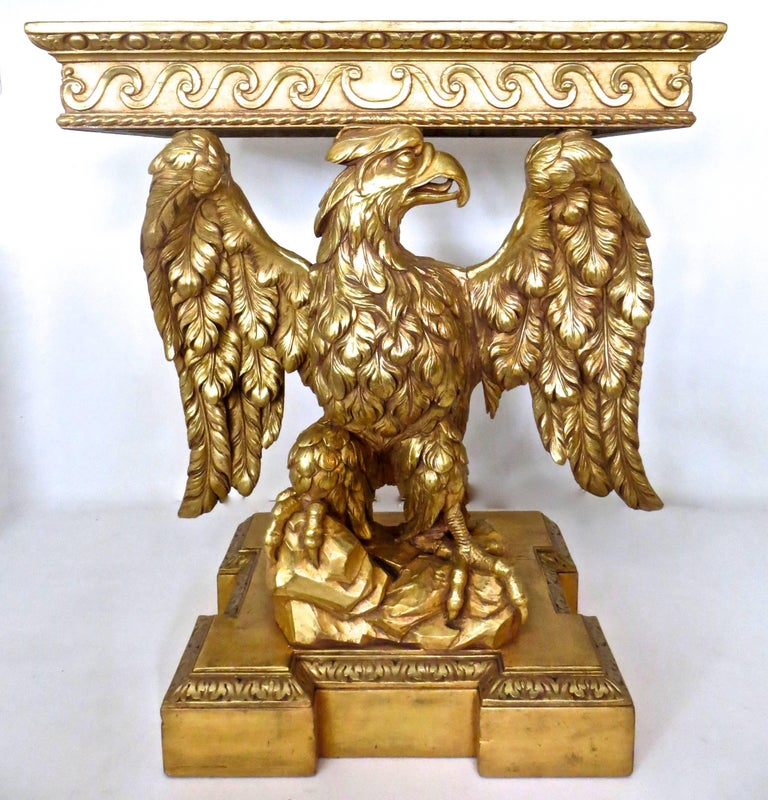 Pair of George II Carved Giltwood Pier Tables in the Manner of William Kent In Good Condition For Sale In Incline Village, NV