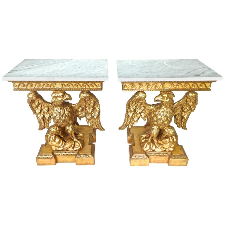 Pair of George II Carved Giltwood Pier Tables in the Manner of William Kent For Sale