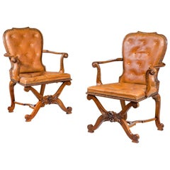 Pair of George II Design Open Armchairs