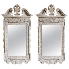 Pair of George II Grey Painted Tablet Mirrors in the Manner of Kent