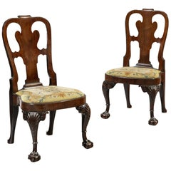 Pair of George II Period 18th Century Carved Cuban Mahogany Side Chairs