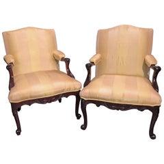 Pair of George II Scroll Foot Armchairs