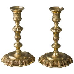 Pair of George II Silver-Gilt Cast Candlesticks, London, 1741 by Edward Aldridge