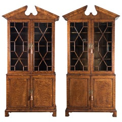 Pair of George II Style Burr Yew Bookcases