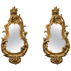 Pair of George II Style Carved Giltwood Mirrors