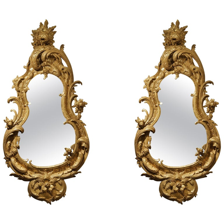 Pair of George II Style Carved Giltwood Mirrors For Sale