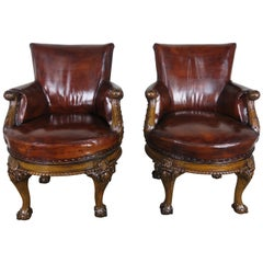 Pair of George II Style English Swivel Library Chairs