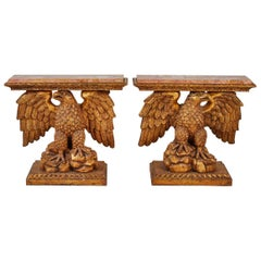 Pair of George II Style Kentian Carved Giltwood Eagle Consoles