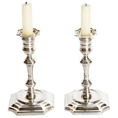Pair of George II Style Sterling Silver Candlesticks by Cartier