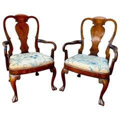 Pair of George II Style Walnut Armchairs