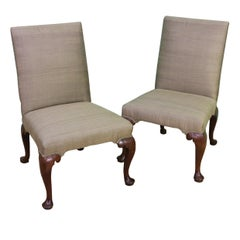 Pair of George II Upholstered Walnut Chairs