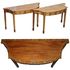 Pair of George III 1780 Satinwood & Tulip Wood Polychrome Painted Console Tables