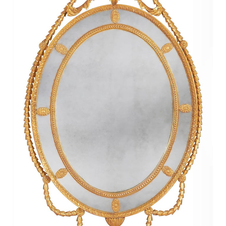 English Pair of George III Adam Giltwood Mirrors For Sale