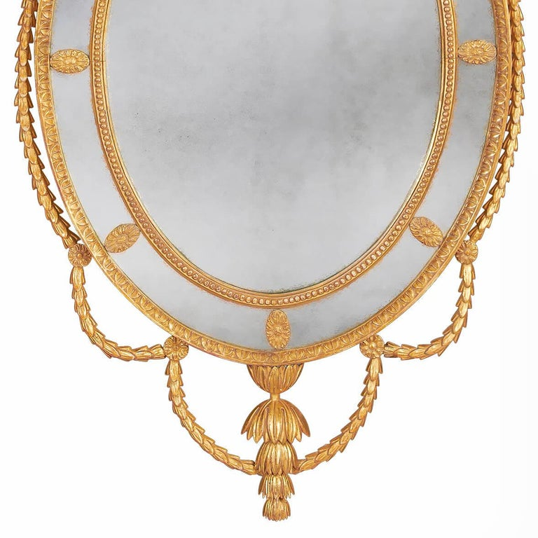 Pair of George III Adam Giltwood Mirrors In New Condition For Sale In Port Chester, NY