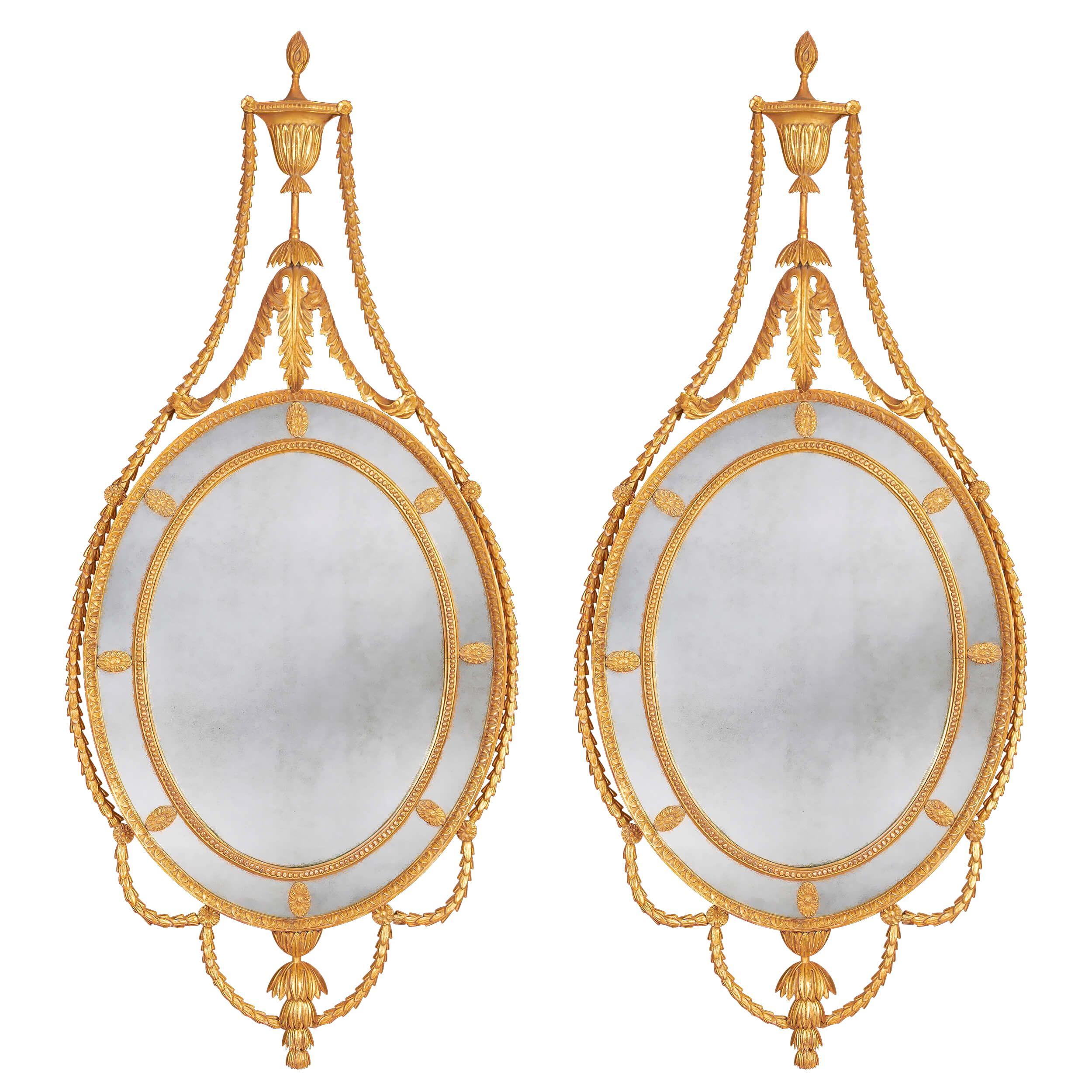 Pair of George III Adam Giltwood Mirrors