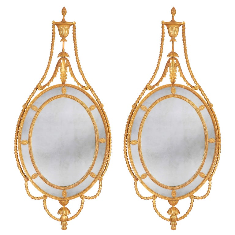 Pair of George III Adam Giltwood Mirrors For Sale