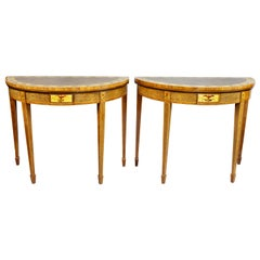 Pair of George III Amboyna and Paint Decorated Games Tables