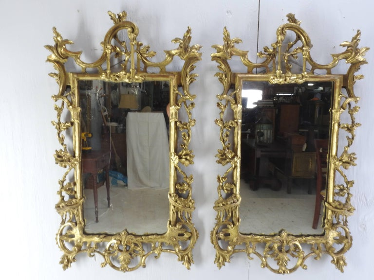 Pair of George III Bright Gilt Mirrors For Sale 4