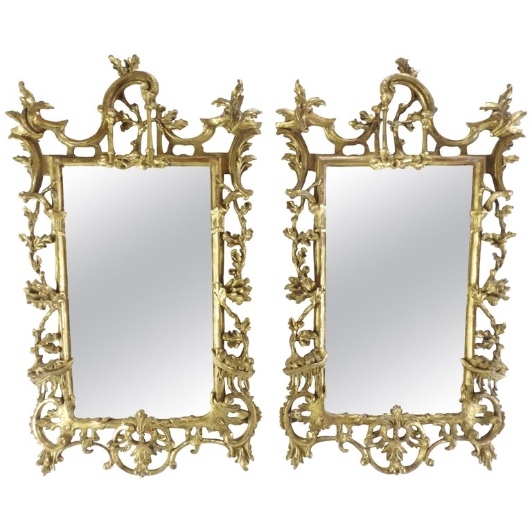 Pair of George III Bright Gilt Mirrors For Sale