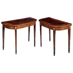 Pair of George III Burr Yew Card Tables