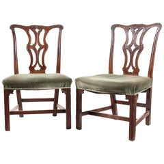 Pair of George III Carved Mahogany Dining Chairs in the Chippendale Gothic Taste