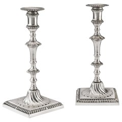 Pair of George III Cast Candlesticks Made in London in 1770 by John Carter II