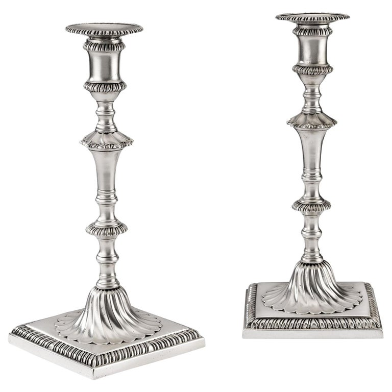 Pair of George III Cast Candlesticks Made in London in 1770 by John Carter II For Sale