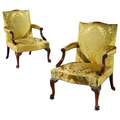 Pair of George III Gainsborough Open Armchairs