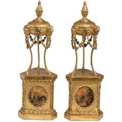 Pair of George III Giltwood Atheniennes 'Urns'