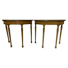 Pair of George III Giltwood Demilune Console Tables