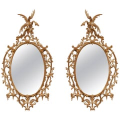 Pair of George III Rococo Giltwood Mirrors