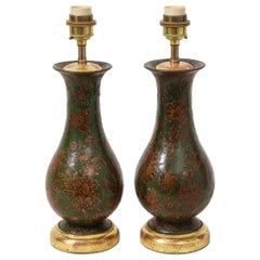 Pair of George III Green-Painted Decoupaged Wood Vases Mounted as Lamps