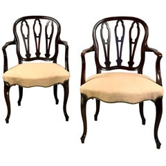 Pair of George III Hepplewhite Mahogany Armchairs