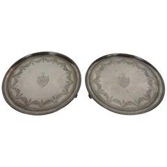 Pair of George III Heraldic Sterling Silver Waiters