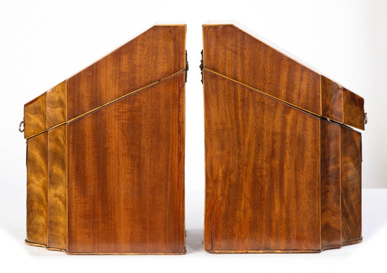 Pair of George III Inlaid Mahogany Cutlery Boxes, Late 18th Century 8