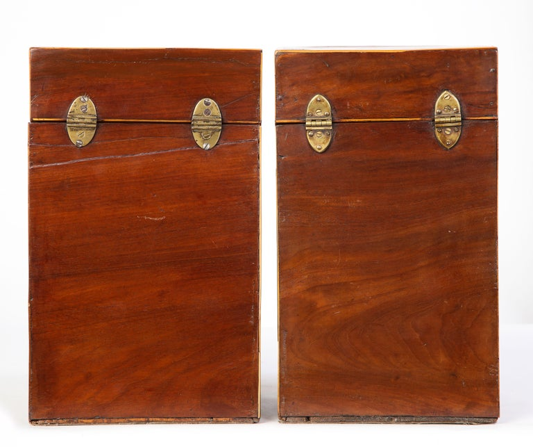 Pair of George III Inlaid Mahogany Cutlery Boxes, Late 18th Century 9